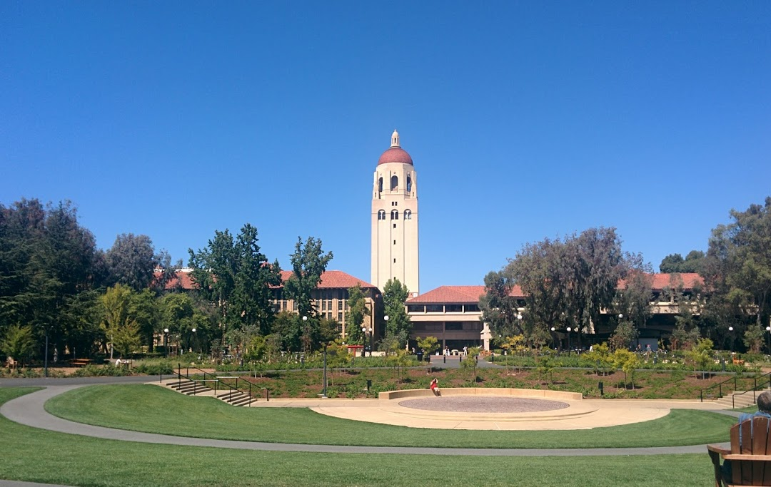 Foreground: Cecil H. Green Library. Background: Hoover Tower.
