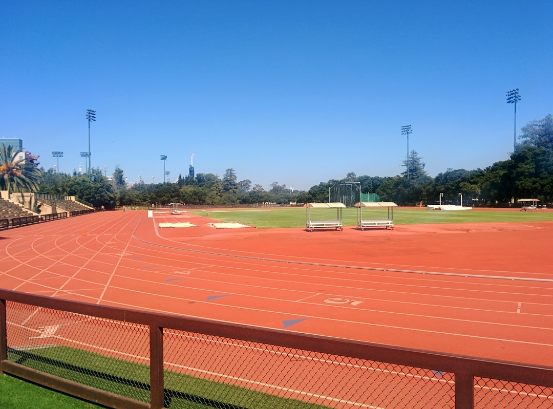 Angell track. The Stanford Stadium lights can be seen in the background.